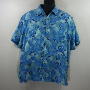 LL Bean Blue Green Floral Camp Shirt